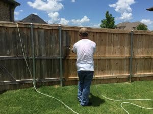 Using our special cleaning solution we are able to restore old weathered fences to their near new state prior to staining.